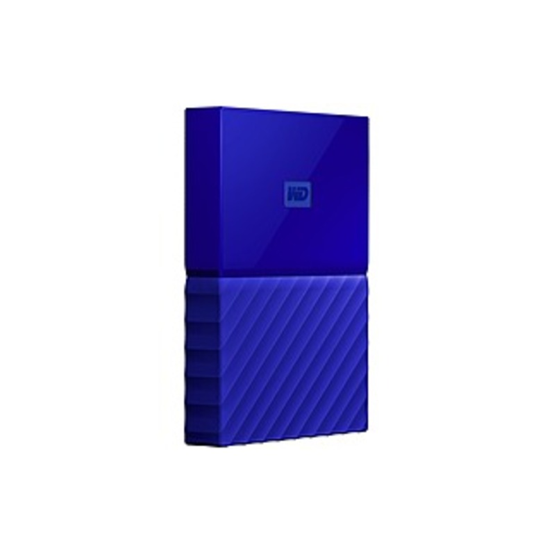 WD My Passport 2TB External USB 3.0 Portable Hard Drive with Hardware Encryption Blue WDBS4B0020BBL-WESN