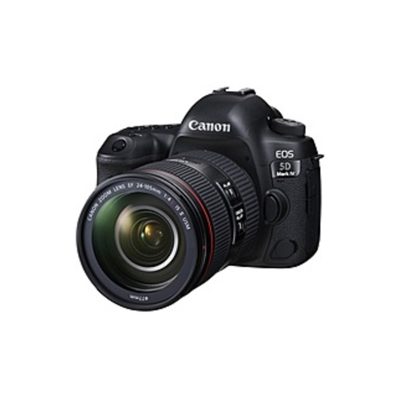 "Canon EOS 5D Mark IV 30.4 Megapixel Digital SLR Camera with Lens - 24 mm - 105 mm - Black - 3.2"" Touchscreen LCD - 4.4x Optical Zoom - Optical (IS) -"