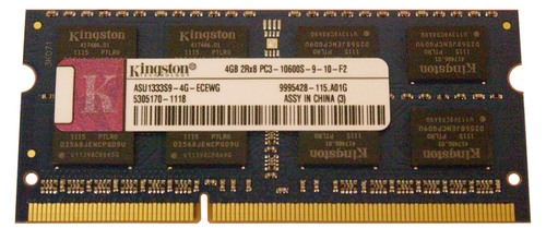 Kingston Technology ASU1333S9-4G-ECEWG 4 GB Memory Module - 4 GB DDR3 - PC-10600 - 204-Pin SODIMM - CL9 - Non-ECC photo